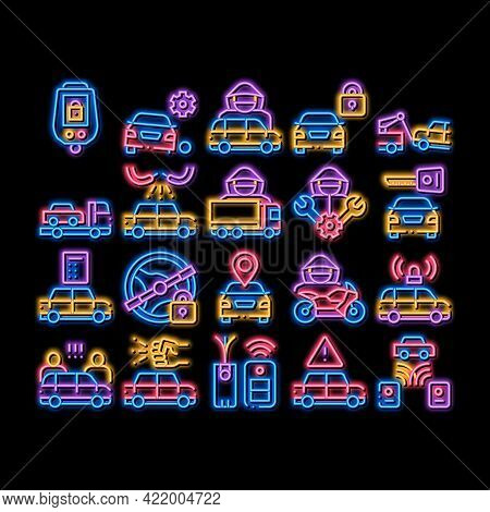Car Theft Elements Neon Light Sign Vector. Glowing Bright Icon Car Theft On Truck, Thief Silhouette