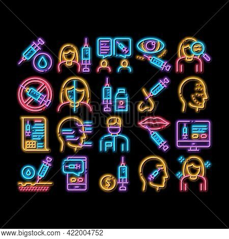 Injections Elements Neon Light Sign Vector. Glowing Bright Icon Anti-ageing Treatments Procedure, Fi