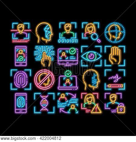 Recognition Elements Neon Light Sign Vector. Glowing Bright Icon Eye Scanning, Biometric Recognition