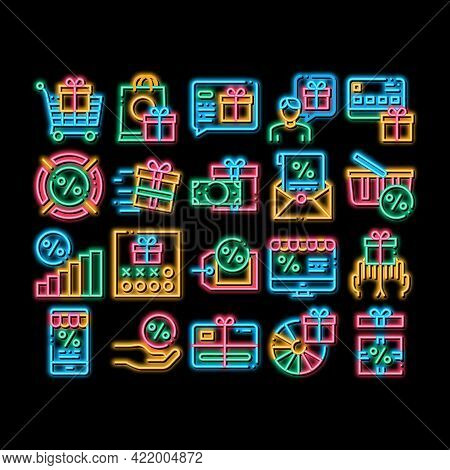 Loyalty Program For Customer Neon Light Sign Vector. Glowing Bright Icon Human Silhouette And Presen