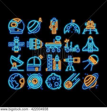 Astronaut Equipment Neon Light Sign Vector. Glowing Bright Icon Astronaut Spacesuit And Helmet, Shut