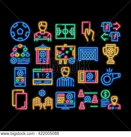 Soccer Football Game Neon Light Sign Vector. Glowing Bright Icon Soccer Playing Ball, Player And Arb