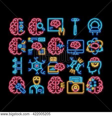 Neurology Medicine Neon Light Sign Vector. Glowing Bright Icon Neurology Equipment And Neurologist,