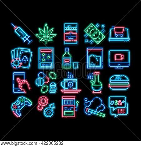 Addiction Bad Habits Neon Light Sign Vector. Glowing Bright Icon Alcohol And Drug, Shopping And Gamb