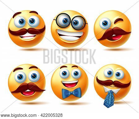Emoticon Male Character Vector Set. Emoji 3d Man With Happy Facial Expressions Wearing Elements Like