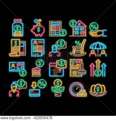 Pension Retirement Neon Light Sign Vector. Glowing Bright Icon Money In Glass Bottle And Box, Calcul