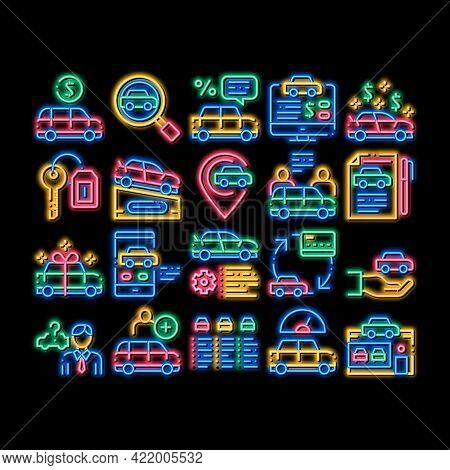 Car Dealership Shop Neon Light Sign Vector. Glowing Bright Icon Car Dealership Agreement And Documen