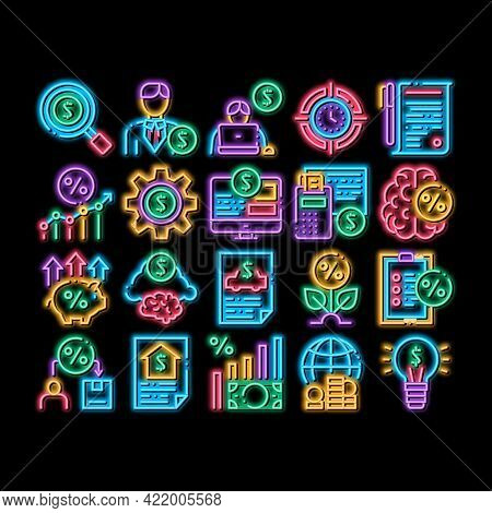 Investor Financial Neon Light Sign Vector. Glowing Bright Icon Investor With Money Dollar And Lightb