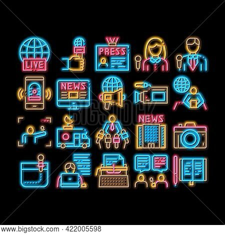 Journalist Reporter Neon Light Sign Vector. Glowing Bright Icon Journalist And Hand With Microphone,