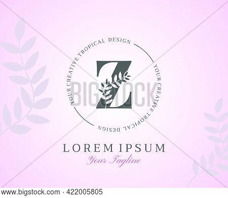 Feminine Letter Z Logo With Nature Leaves Texture Design Logo Icon. Creative Beauty Alphabetical Bea