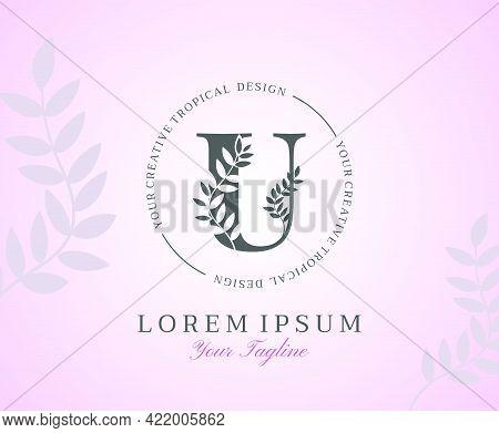 Feminine Letter U Logo With Nature Leaves Texture Design Logo Icon. Creative Beauty Alphabetical Bea