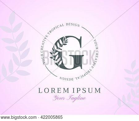Feminine Letter G Logo With Nature Leaves Texture Design Logo Icon. Creative Beauty Alphabetical Bea