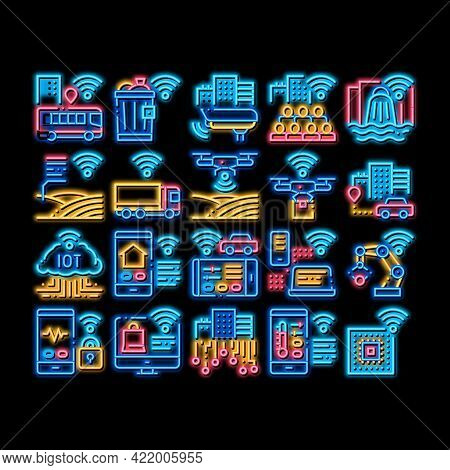 Internet Of Things Iot Neon Light Sign Vector. Glowing Bright Icon Wifi Signal In Bus And Truck, Cct