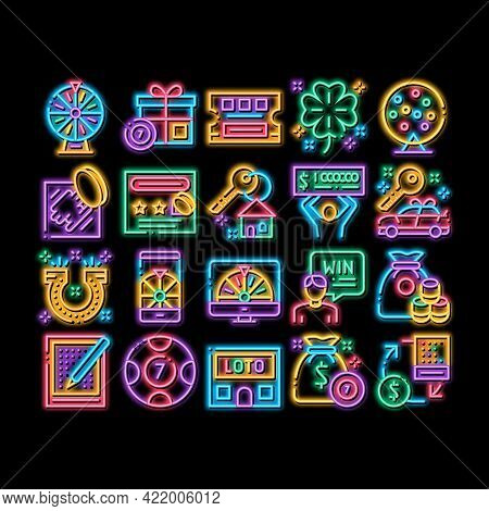 Lottery Gambling Game Neon Light Sign Vector. Glowing Bright Icon Human Win Lottery And Hold Check,