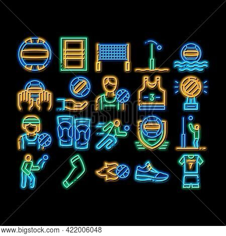 Volleyball Sport Game Neon Light Sign Vector. Glowing Bright Icon Volleyball Ball In Water And Grid,