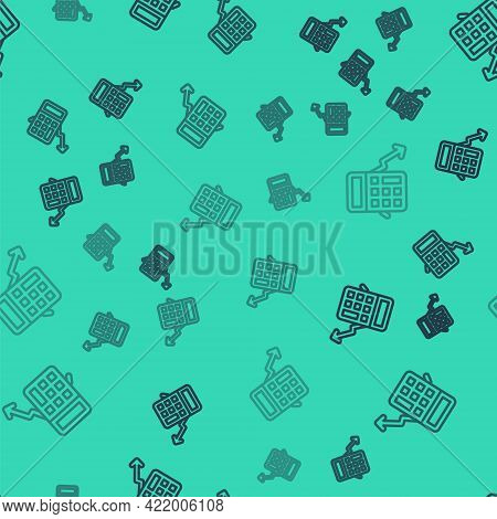 Black Line Calculation Of Expenses Icon Isolated Seamless Pattern On Green Background. Vector