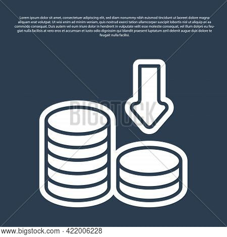 Blue Line Dollar Rate Decrease Icon Isolated On Blue Background. Cost Reduction. Money Symbol With D