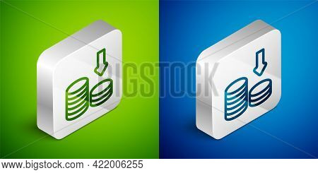 Isometric Line Dollar Rate Decrease Icon Isolated On Green And Blue Background. Cost Reduction. Mone