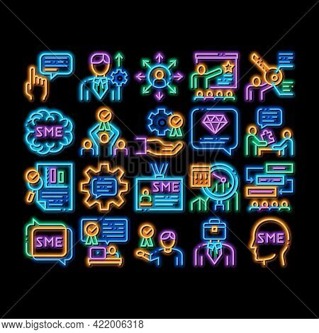 Sme Business Company Neon Light Sign Vector. Glowing Bright Icon Sme Small And Medium Enterprise, Co