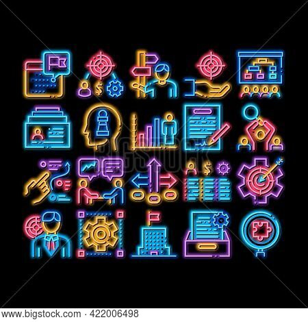 Strategy Manager Job Neon Light Sign Vector. Glowing Bright Icon Contract Signing And Customer Datab