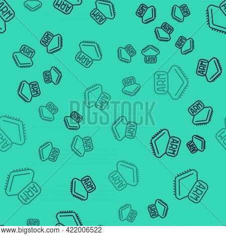Black Line Processor Icon Isolated Seamless Pattern On Green Background. Cpu, Central Processing Uni