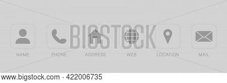 Business Card Contact Information Icon. Set Of Contact Icons In Square Shapes. Communication Symbol