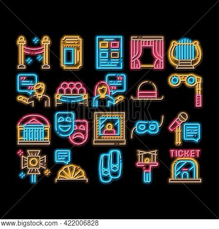 Theatre Equipment Neon Light Sign Vector. Glowing Bright Icon Theatre Ticket And Binoculars, Mask An