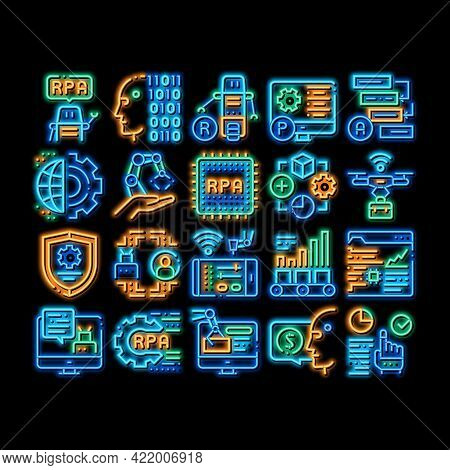 Rpa Cyber Technology Neon Light Sign Vector. Glowing Bright Icon Rpa Robotic Process Automation, Dro