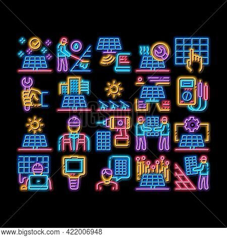 Solar Energy Technicians Neon Light Sign Vector. Glowing Bright Icon Solar Energy Battery And Panel,