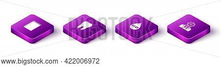 Set Isometric Book, Tooth, Water Drop With H2o And Head Gear Inside Icon. Vector