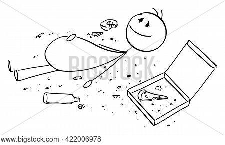 Overeaten Man Or Person, Lying On Ground With Crumbs Around, Vector Cartoon Stick Figure Illustratio