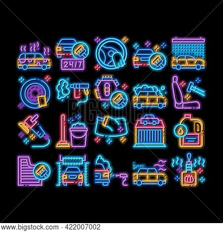 Car Wash Auto Service Neon Light Sign Vector. Glowing Bright Icon Automatical Car Wash Building And