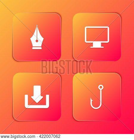 Set Fountain Pen Nib, Computer Monitor Screen, Download And Fishing Hook Icon. Vector