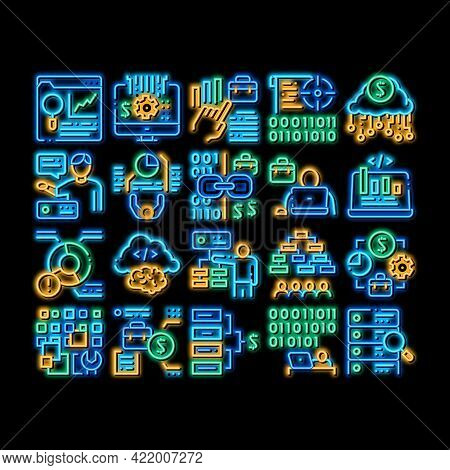 Data Scientist Worker Neon Light Sign Vector. Glowing Bright Icon Server And Web Site Research, Prog