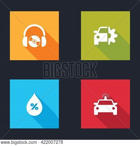 Set Headphones And Cd Or Dvd, Car Service, Water Drop Percentage And Police Car Flasher Icon. Vector