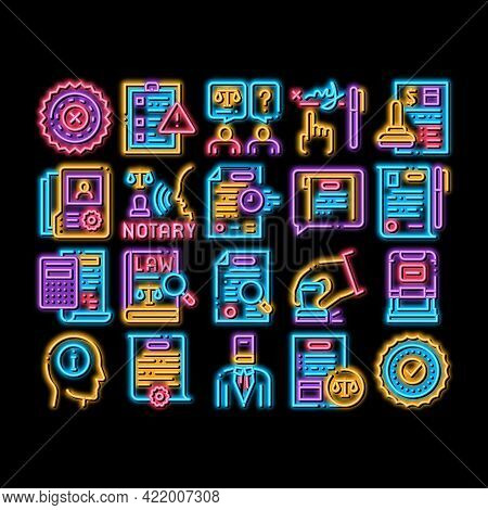 Notary Service Agency Neon Light Sign Vector. Glowing Bright Icon Agreement And Law Research, Docume