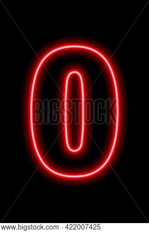 Neon Red Number 0 On Black Background. Learning Numbers, Serial Number, Price, Place.
