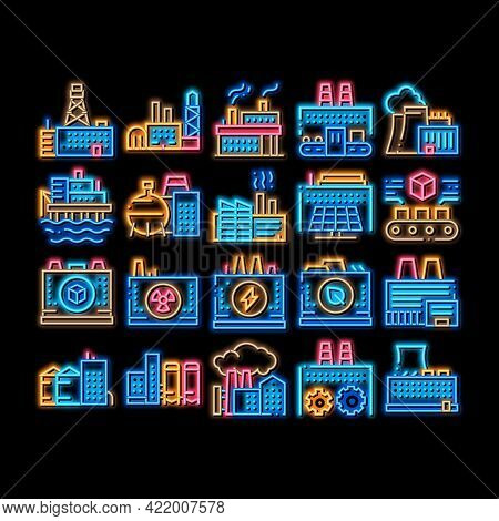 Factory Industrial Neon Light Sign Vector. Glowing Bright Icon Factory Building, Oil And Chemical Pl