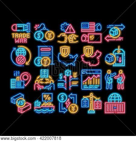 Trade War Business Neon Light Sign Vector. Glowing Bright Icon Trade War Bomb And Rocket, Usa And Ch