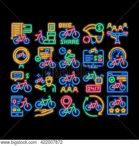 Bike Sharing Business Neon Light Sign Vector. Glowing Bright Icon Bike Share Deal And Agreement, Web