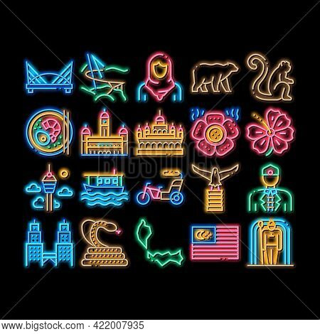 Malaysia National Neon Light Sign Vector. Glowing Bright Icon Malaysia Flag And Architecture Buildin
