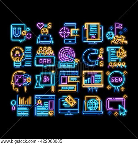 Inbound Marketing Neon Light Sign Vector. Glowing Bright Icon Growth Roi And Seo, Attract And Crm, E