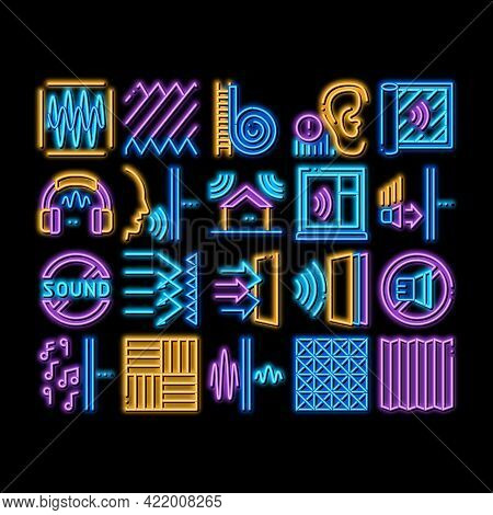 Soundproofing Building Material Neon Light Sign Vector. Glowing Bright Icon Of Soundproofing Windows