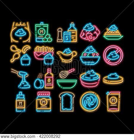 Mayonnaise Sauce Neon Light Sign Vector. Glowing Bright Icon Mayonnaise Bottle And Preparing In Bowl