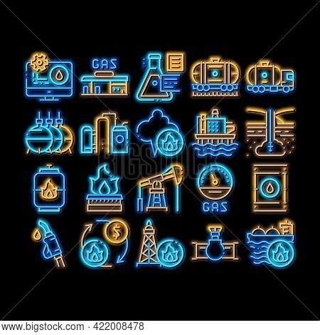 Gas Fuel Industry Neon Light Sign Vector. Glowing Bright Icon Gas Truck Cargo Delivery And Carriage