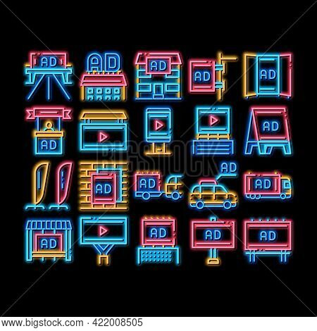 Outdoor Media Advertising Promo Neon Light Sign Vector. Glowing Bright Icon Advertising Billboard An