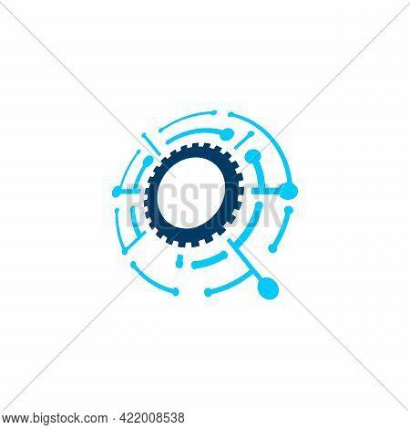 Modern Pixel Gear Technology Logo Designs Symbol Vector Illustration