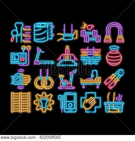 Physical Therapy And Recovery Neon Light Sign Vector. Glowing Bright Icon Treadmill And Exercise Bik