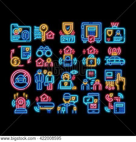 Security Agency Property Protect Neon Light Sign Vector. Glowing Bright Icon Security Agency Service