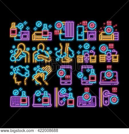 Hygiene And Healthcare Neon Light Sign Vector. Glowing Bright Icon Cleaning Mobile Phone And Handle